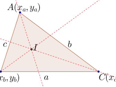 求內心 (Incentre)坐標的方法